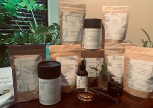 bags and bottle of herbs